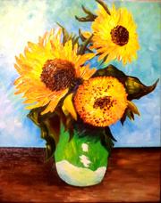 Ван Гог. Свободная копия. *Три подсолнуха в вазе*.