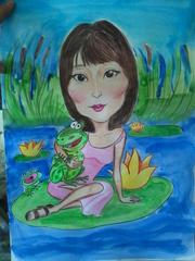 Художник рисует дружеские шаржи и карикатуры