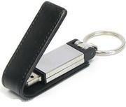 Продам USB флешка металлическая,  в кожаной оправе - 8Gb