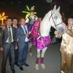 конь белый,  гнедой на сундет той.