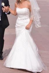 свадебное платье рыбка,  цвет айвори со шлейфом
