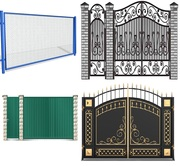 Металлические ворота и ограждения с элементами ковки
