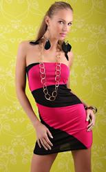 Черно-розовое мини-платье без плеч