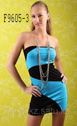 Черно-голубое мини платье