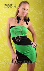Черно-зеленое мини платье без плеч