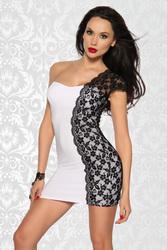 Белое мини платье с черным кружевом