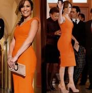Осеннее шикарное платье карандаш оранжевого цвета