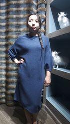 Шикарное синие платье из натурального кашемира