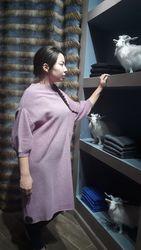 Розовое платье-туника из монгольского кашемира