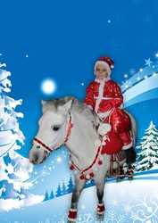 Санта Клаус на маленькой лошадке