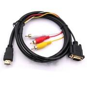 Продам кабель переходник с HDMI на VGA + 3RCA выход (Тюльпан),  1.5м