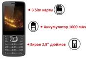 Продам мобильный телефон с поддержкой трех сим карт,  экраном 2, 8 дюймо